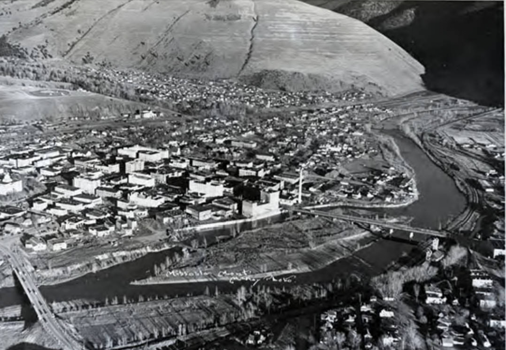 1941 aerial photo of downtown Missoula showing the Clark Fork running in two channels
