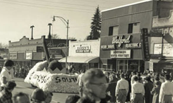 "Hansen's (center) in the early '60s before this part of South Higgins became the ""Hippie Strip."""